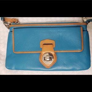 Danier Aqua Blue & Tan Go-To Wristlet + Wallet